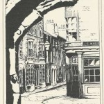 Pencil drawing of Gillygate corner by Ann Victoria Roberts