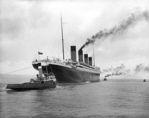2 Titanic leaving Belfast for sea trials