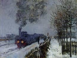 1 train in snow Monet