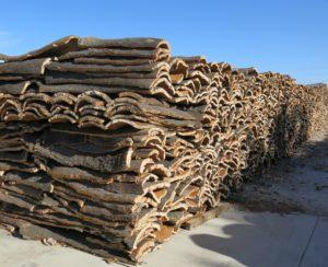 Cork stacks at the factory